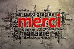 French Merci, Open Word Cloud, Thanks, Grunge Background Stock Image