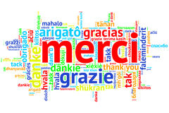 French Merci, Open Word Cloud, Thanks, on white Stock Photos