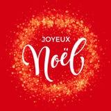 French Merry Christmas Joyeux Noel decoration ornament snowflake wreath glitter Royalty Free Stock Photography