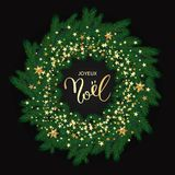 French Merry Christmas Joyeux Noel greeting card with Wreath Mad. E of Naturalistic Looking Pine Branches Decorated with Gold Stars. Vector calligraphy lettering stock illustration