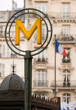 French Metro sign and flag Stock Photo