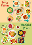 French, mexican, russian cuisine dishes icon set. Of fish snack with salmon, herring and cod, burrito, salads with vegetable, meat, fish, cheese, vegetable Stock Images