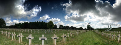 French military cemetery in the North of France. Panorama of a a French first world war cemetary in the North of France Stock Photo