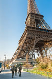 French military guarding Eiffel tower in Paris Royalty Free Stock Images