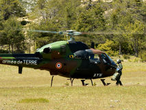 French military helicopter. A french military helicoper in the countryside Stock Images