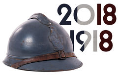 French military helmet of the First World War isolated on white Stock Photography