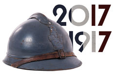 French military helmet of the First World War isolated on white Royalty Free Stock Photography