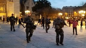 French military patrolling Notre Dame Cathedral. December 9th 2017 Paris, France the French Military was out patrolling the square in front of Notre Dame where Stock Images