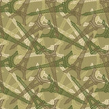 French military seamless pattern. Texture for soldiers of Eiffel Stock Image