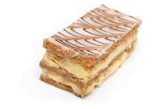 French mille-feuille cake closeup. On white background Stock Photo
