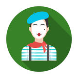 French mime icon in flat style isolated on white background. France country symbol stock vector illustration. Royalty Free Stock Images