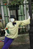 French Mime leaning on a Lampost Royalty Free Stock Images