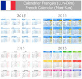 2015 French Mix Calendar Mon-Sun. On white background Royalty Free Illustration