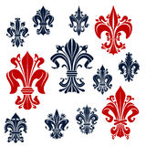French monarchy fleur-de-lis red and blue lilies Stock Photos
