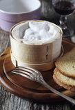 French Mont D'or cheese and red wine Royalty Free Stock Photo