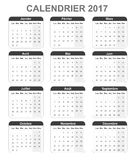 French monthly simple calendar for 2017, monday to sunday. Royalty Free Stock Images