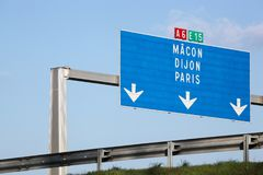 A6 french motorway panel with Paris direction. France stock photography