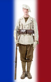 French mountain soldier with a uniform 40s. A french mountain soldier with a uniform 40s Royalty Free Stock Image