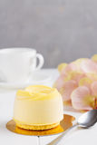 French mousse entremet with yellow chocolate velour Stock Photography