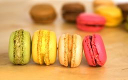 French multicolored macaroon cookies Royalty Free Stock Photo