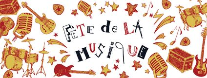 French Music festival banner. French Music festival instruments illustration doodles banner Royalty Free Stock Image