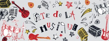 French Music festival banner. French Music festival instruments illustration doodles banner Royalty Free Stock Photography