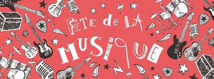 French Music festival banner. French Music festival instruments illustration doodles banner Stock Photography