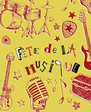 French Music festival. Instruments illustration doodles Stock Images
