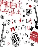 French Music festival. Instruments illustration doodles Stock Photos