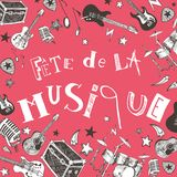 French Music festival. Vector instruments illustration doodles Royalty Free Stock Photos