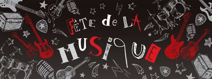 French Music festival banner. French Music festival instruments illustration doodles banner Royalty Free Stock Photos