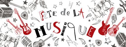 French Music festival banner. French Music festival instruments illustration doodles banner Royalty Free Stock Images