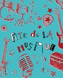 French Music festival. Instruments illustration doodles Royalty Free Stock Image