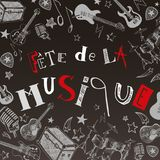 French Music festival. Vector instruments illustration doodles Royalty Free Stock Images