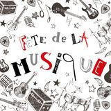 French Music festival. Vector instruments illustration doodles Stock Images