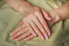 French nail art in light green colour Royalty Free Stock Image