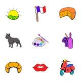 French nation icons set, cartoon style Stock Image
