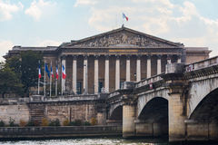 French national assembly and Concorde bridge in Paris Stock Image