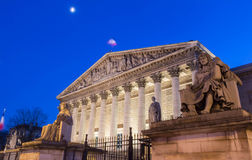The French  National Assembly at night, Paris, France. Royalty Free Stock Photo