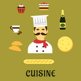 French national cuisine flat icons Stock Photos