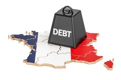French national debt or budget deficit, financial crisis concept Stock Image