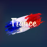 French national flag. Euro 2016. Euro 2016 in France. Football championship. Inscription France on watercolor background, ink stains, tricolor. Sport concept Royalty Free Stock Photo