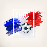 French national flag. Euro 2016. Euro 2016 in France. Football championship. Symbol football, inscription 2016 on watercolor background, ink stains, tricolor Stock Photos