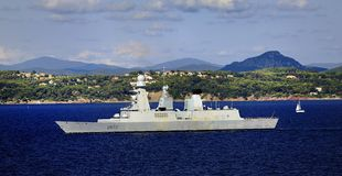 French Naval Destroyer Royalty Free Stock Photo