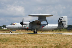 French Navy radarplane. HYERES, FRANCE - JUNE 13: French Navy E-2C Hawkeye radarplane taxiing for take-off at the celibration of 100 years French Navy Aviation Royalty Free Stock Image
