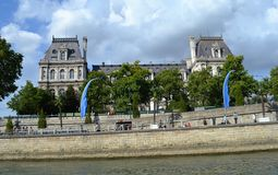 French Neo-Renaissance style building, Walkway Stone wall along Siene River, Paris Royalty Free Stock Image
