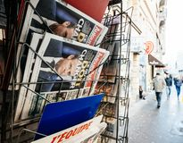 French newspaper kiosk selling latest news in France. PARIS, FRANCE - DEC 10, 2018: Newspaper stand kiosk stand selling press Aujourd`hui Today newspaper stock photo