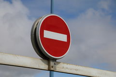 French no entry sign on blue sky Stock Photos