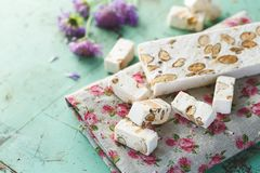 French Nougat with Almonds Royalty Free Stock Photography