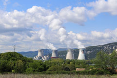 French, nuclear power plant in the mountains Stock Photos